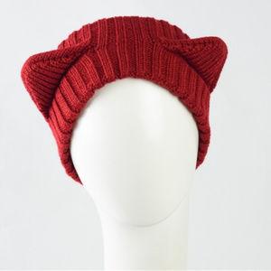 Animal Cat Ears Crochet Rib Knit Hat Headband